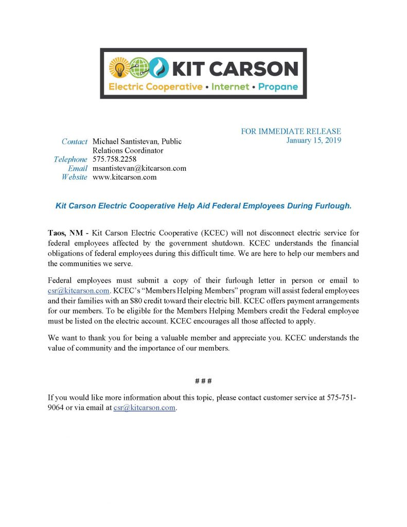 If You Would Like More Information About This Topic Please Contact Customer Service At 575 751 9064 Or Via Email Csr Kitcarson