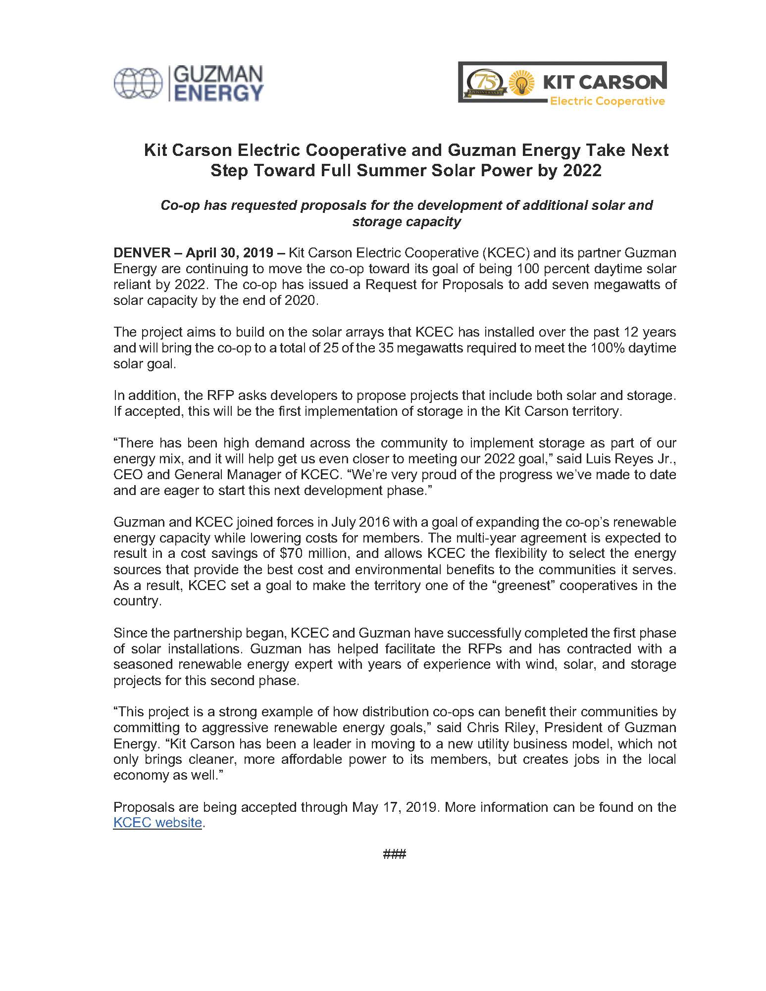 Kit Carson Electric Cooperative and Guzman Energy Take Next Step